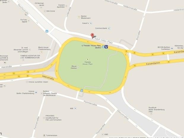 Google Maps macht aus dem Berliner Theodor-Heuss-Platz den Adolf-Hitler-Platz