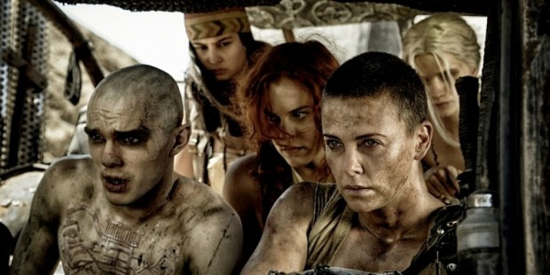 Nicholas-Hoult-Charlize-Theron-and-Rosie-Hunington-Whiteley-in-Mad-Max-Fury-Road