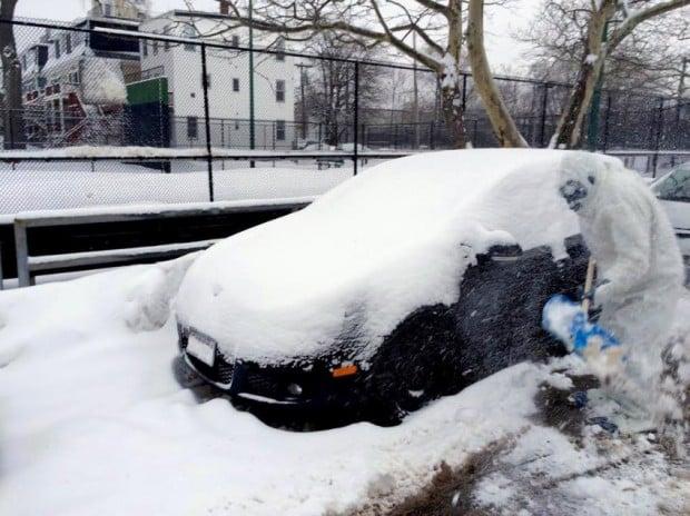 Boston-Yeti hilft beim Schneeschippen