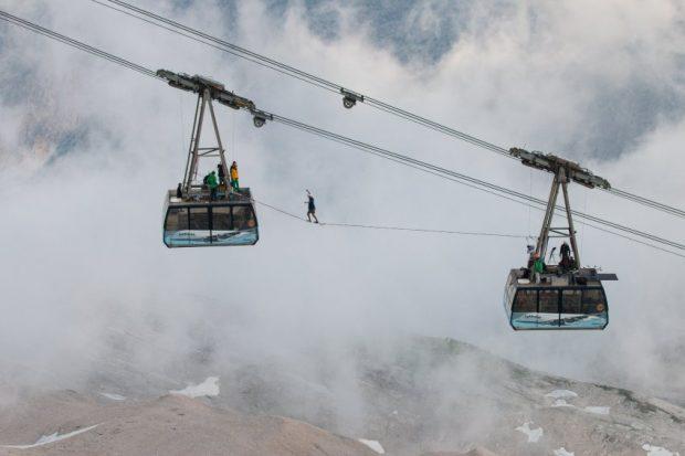 Slackline-Aktion Zugspitze